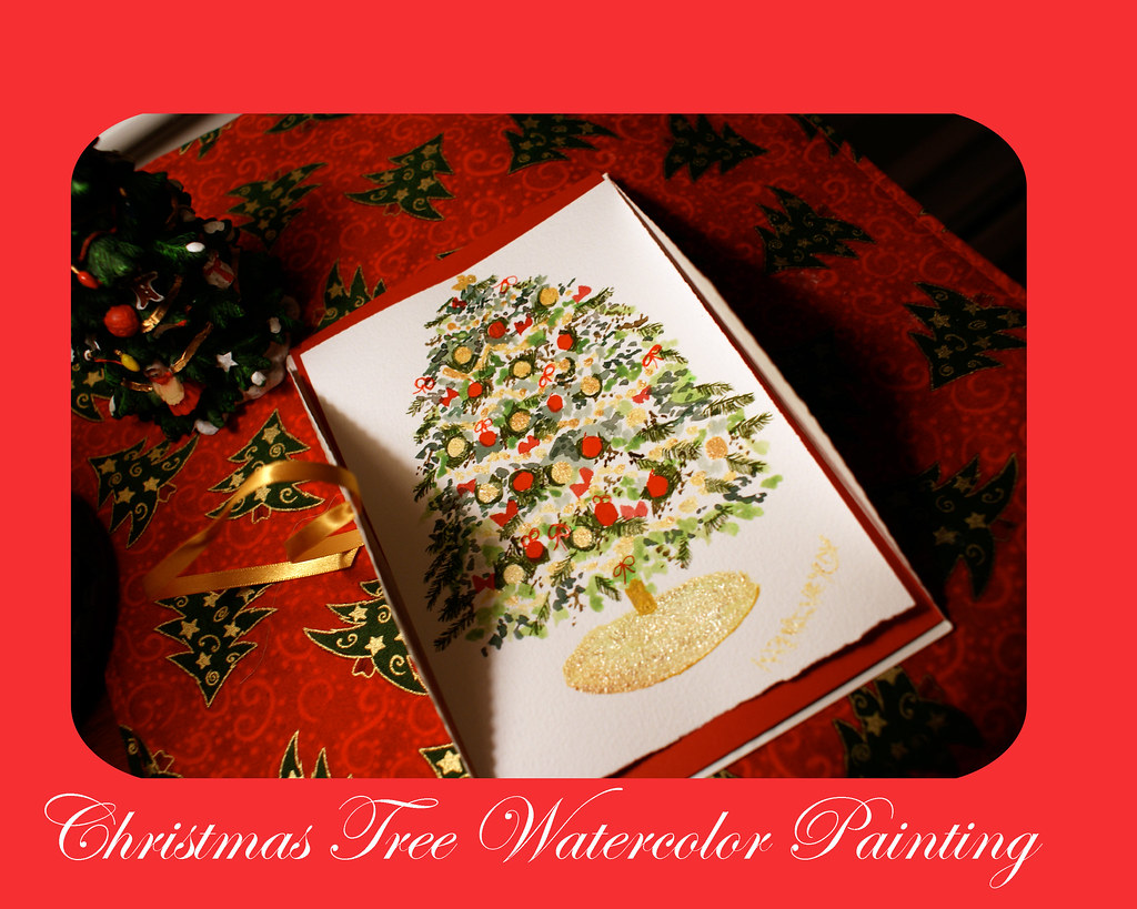 Christmas Tree Watercolor Painting 5 x 7 inches