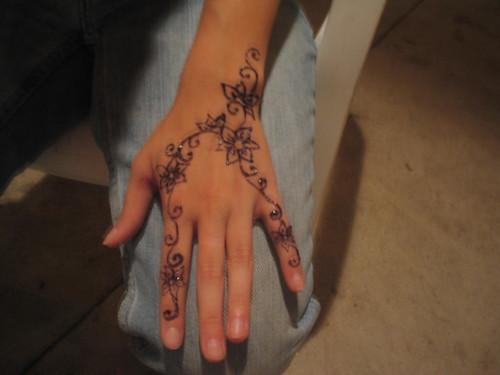 jagua'd henna tattoo flowers