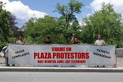 Shame on Plaza Protestors... Half-Hearted, Lame, Lazy Technique...
