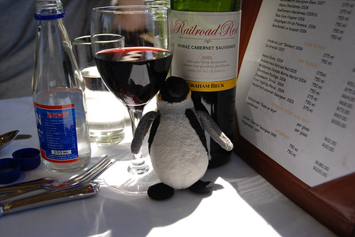 Mini Wolfgang enjoys a Railroad Red Shiraz-Cabernet sauvignon!