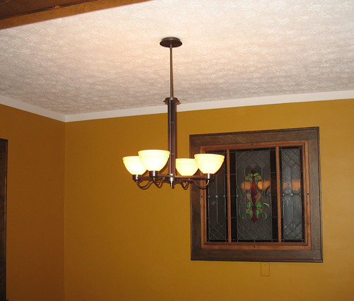 Dining Room: Day 17 - The new chandelier is installed.