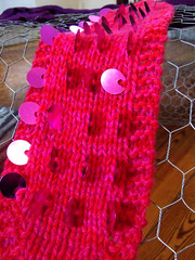 paillette experiment (staceyjoy) Tags: brooklyn knitting cables redlipstick knitted sequins paillettes earwarmers luxuryfibers