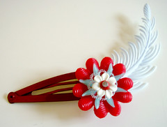 Red and Blue Vintage Flowers Barrette