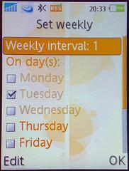 sony ericsson k800i calendar interval