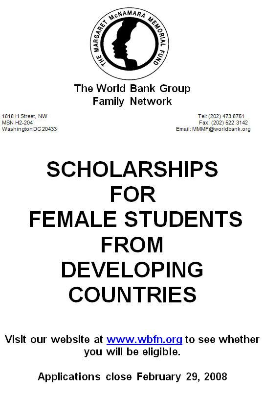 World Bank Scholarships for Women