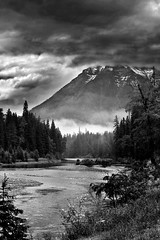 winding river (b_schalk) Tags: trees sky blackandwhite lake nature river montana scenic glacier glaciernationalpark mywinners