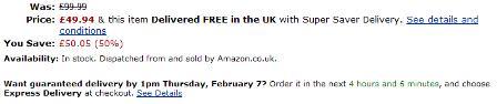 Amazon delivery estimate