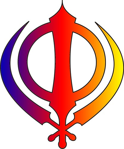 Sikh Symbol Khanda Multicoloured Red Yellow And Blue A Photo On
