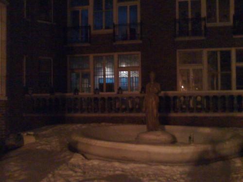 courtyard @ 1021 W. Bryn Mawr, night, snow covered