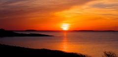 winter sun (learydotmark) Tags: ocean winter sunset red landscape ma coast granite quarry hdr rockport halibutpoint