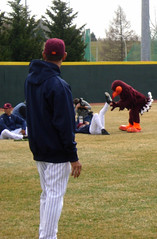 "Hokie Bird ""Helps"" Out Jeter (boomcha7) Tags: orange college field campus virginia march baseball cloudy maroon crowd yankees posada vt newyorkyankees jeter jorgeposada blacksburg virginiatech hokies derekjeter hokiebird 31808 englishfield"