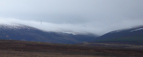 Wind turbines in the mist