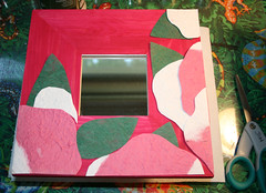 decoupaging paper hot pink Artsy Mirror