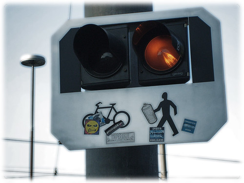 Traffic light with 'graffiti'