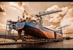 Shipyard I (Gert van Duinen) Tags: haven holland digitalart groningen shipyard dri watercraft hdr hdri hoogezand bigships scheepswerf bigship thenetherland dutchartist bodewes alemdagqualityonlyclub hoyapro1digital77mmmcuv0 nikond80mbd80 tokinaatx124prodx12~24mmf4 gertvanduinen
