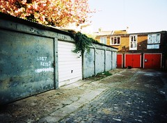 Lost Keys (teaselbrush) Tags: road camera city uk red england urban white london film up metal angel lens cherry toy sussex coast town seaside brighton peeling slim shot angle blossom lock hove wide coastal level british analogue shaftesbury garages lockup superheadz