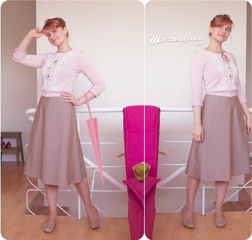 szafiarka, blog, szycie, krawiectwo, sukienka, lata 50/60, popelina, Burda 5/2011, model 108, wykrój