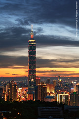 Taipei City at Night, Taiwan  Jun. 6, 2011 (*Yueh-Hua 2013) Tags: camera sunset building tower architecture night skyscraper canon buildings eos fine taiwan sigma 101  5d taipei taipei101 dslr   70300mm       101    canoneos5d    verticalphotograph  sigma70300mmf456apodgmacro  taipei101skyscraper taipei101internationalfinancialcenter tigerpeak   2011june
