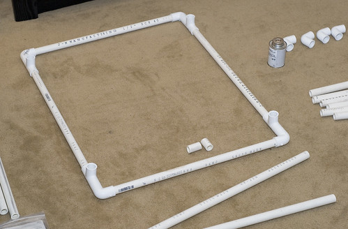 once you have the two sub frames created connect them together using the remaining four sections of pvc