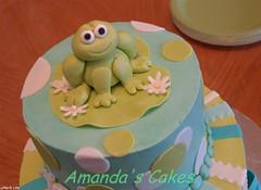 Froggie Baby Topper (mandotts) Tags: blue green teal stripes frog polkadots babyshower babyboy froggie fondant buttercream tieredcake babycake