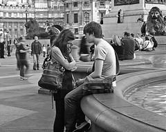 It's not you, it's me (ro_nya) Tags: street urban bw london love couple candid trafalgarsquare explore argument emotions heartbroken ronya ronyagalkacom