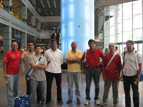 Chennai runners at the entry pack collection center.. Suntec city