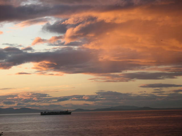 Container ship at dusk