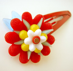 Red, Blue and Yellow Vintage Flowers Barrette