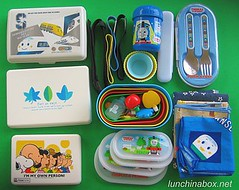 Bento lunch gear for a family vacation (unpacked)