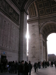 Sun over the Eiffel tower at Arc de Triomphe