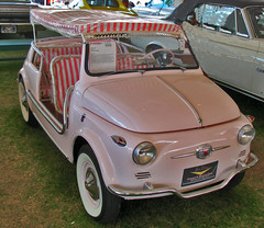Someday, All Fiats Will Have Wicker Interiors (oybay) Tags: pink arizona italian fiat scottsdale jolly ghia fiat500 verypink barrettjackson pinkcar italiancar candystripes fiatjolly fixitagaintomorrow