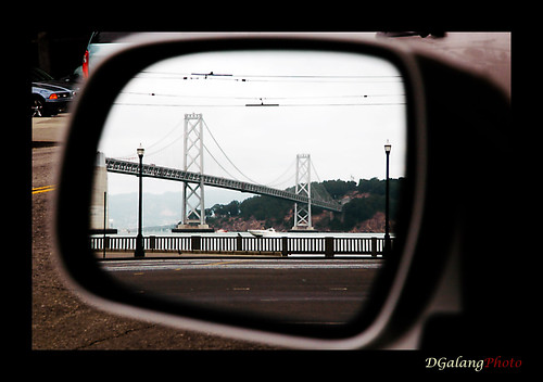 bay bridge in the rear view