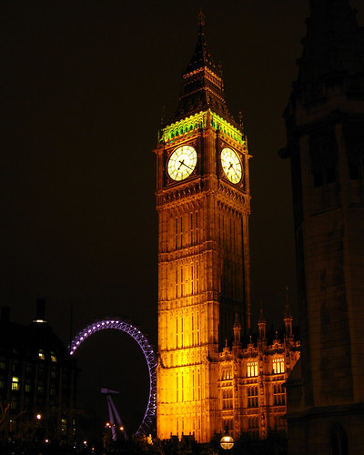 London: Big Ben and London Eye at Night