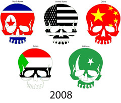 Skull Olympics 2008 (Just Mel in Seattle) Tags: china pakistan adobephotoshop unitedstates sudan political protest olympics northkorea adobeillustrator protestbanner 2008olympics countryflags