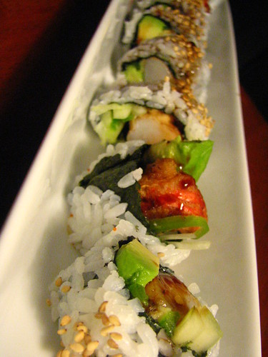 Shrimp Tempura Roll with Avocado,Cuke and Jalapeno