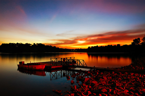 Red rocks; under a blood red sky @ Lower Peirce Reservoir, Singapore