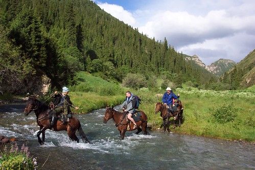 Camp - Fording River, Kyrgyzstan