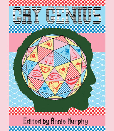 the cover of Gay Genius, featuring a many-sided spherical and colorful shape inside the silhouette of an androgynous head with an Afro. it is has a very graphic, vector-driven style and says GAY GENIUS across the top