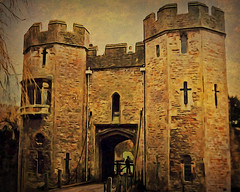 Wells: Bishop's Palace Gatehouse (etva101) Tags: uk texture architecture photomanipulation buildings wells hypothetical gatehouse bishopspalace magicuniverse