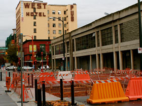 Greenway construction on Carrall between Pender and Keefer