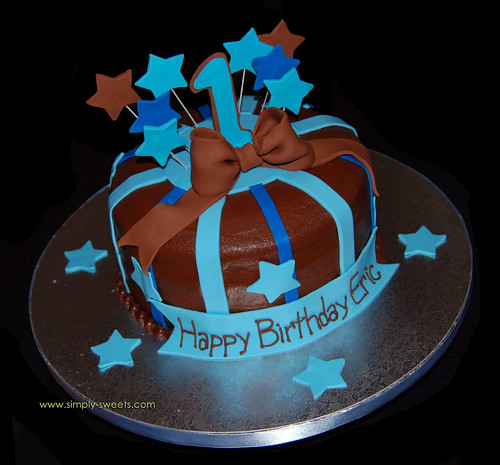 shooting stars 1st birthday single tier · blue 1 smash cake