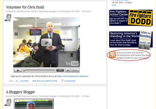 Chris Dodd for President Blog - No RSS Button for Blog