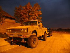 Datsun 4x4 (kneesamo) Tags: longexposure night speed long exposure slow shot conversion 4x4 pickup shutter nightshots 1979 atnight datsun slowshutterspeed inthedark bulletside pl620