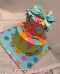 Bauman Birthday Cake (mandotts) Tags: pink orange green bright teal circles polkadots birthdaycake wonky topsyturvy 2tier fondantbow fondantbright