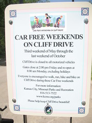 Cliff Drive Car Free Weekends sign