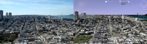Google Earth vs. Reality - San Francisco from Coit Tower