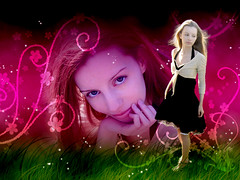 (Laura D McBryde) Tags: desktop pink woman black laura cute green girl grass smiling sparkles female photoshop nose eyes pretty dress d background style lips swirls magical bolero mcbryde halterneck ysplix