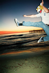 Tiger, My Friend (Mas-Luka) Tags: sunset italy man beach water animal fun weird flying costume seaside fight jump sand october friend feline italia tramonto mare mask kick tiger humor uomo jeans freak agility tuscany salto aggression toscana acqua powerful bizarre spiaggia lido volante 2007 versilia calcio ottobre agile camaiore veleno uomotigre