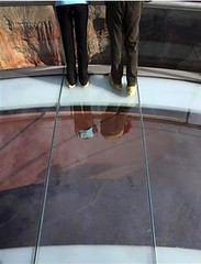 Standing on the glass floored grand canyon overlook - Grand Canyon Skywalk (ariztravel) Tags: grandcanyonskywalk hualapaitribe grandcanyonwestrim grandcanyonwestedge