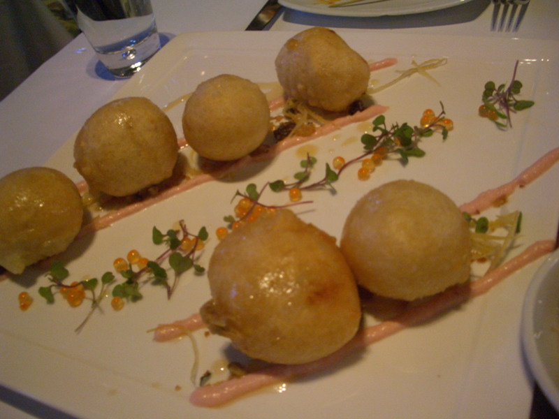 Scallop-filled loukoumades with taramasalata and salmon roe